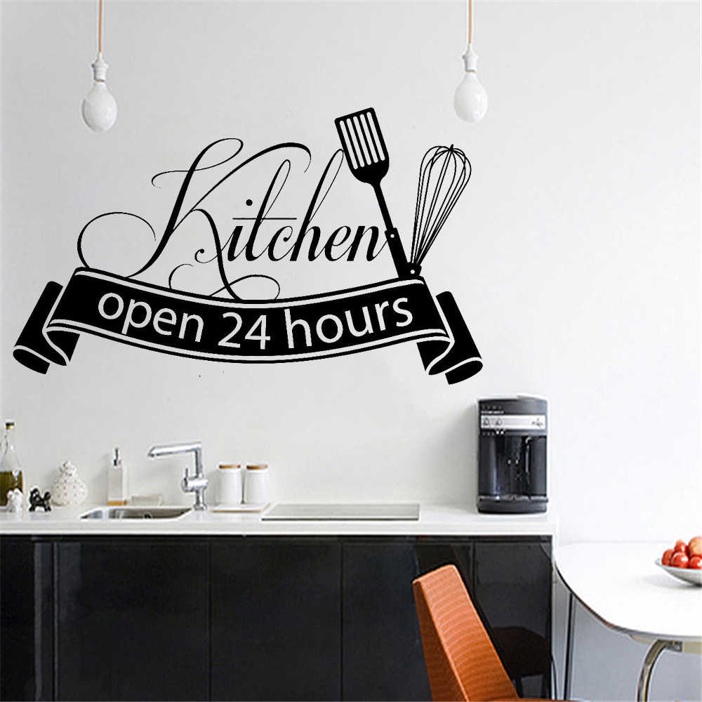 Cuisine Wall Sticker Open 24 Hours Kitchen Wall Decals For Restaurant Decoration Shop Store Decor Home Decoration Wall Stickers Aliexpress