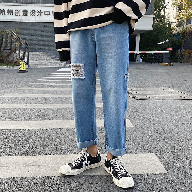 Men's Jeans 2020 Spring New Handsome Wild Hole Straight Straight Loose Jeans Youth Personality Fashion Trend Men's Clothing