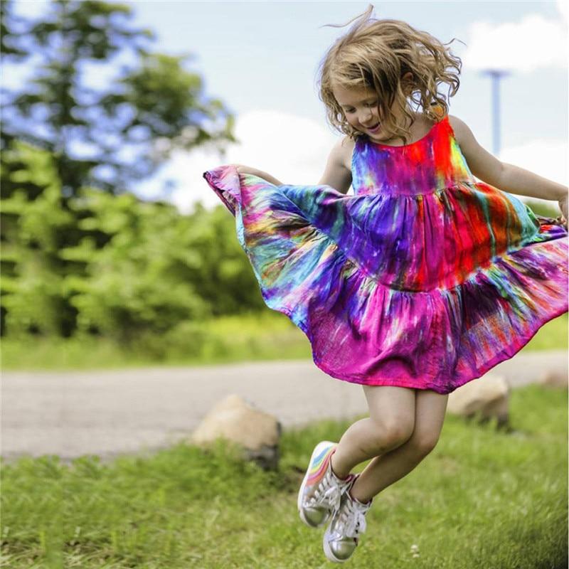 Summer Kids Baby Sleeveless Girls Dress Tie dye Dress Rainbow New Year Party Little Princess Costume Children Beach Clothes 4