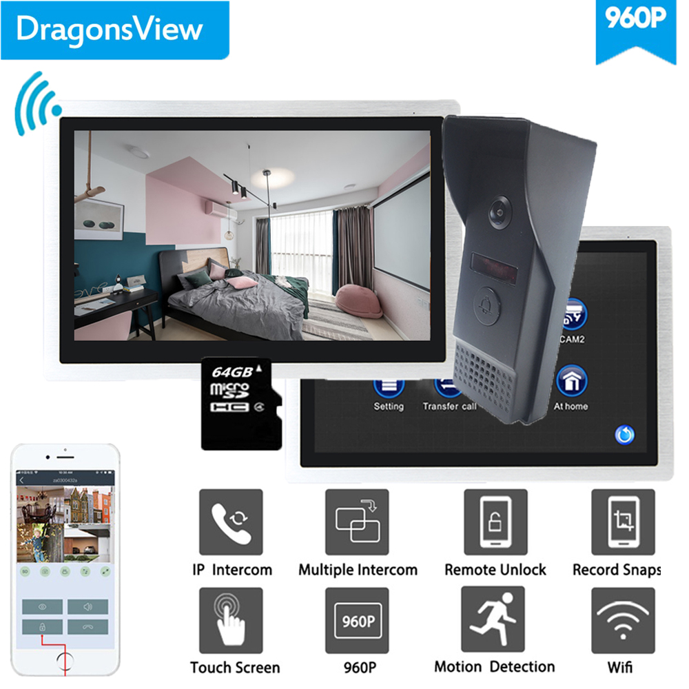 Dragonsview 10 Inch Video Intercom Video Door Phone Doorbell Wifi System 960P HD 2 Monitors And 1 Doorbell
