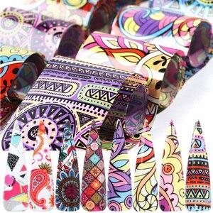 Image 2 - 10pcs Colorful Stagnola Del Chiodo Set Adesivo Decalcomanie Avvolge Adesivi Unghie artistiche di Trasferimento Sventa Decorazioni Manicure Cursori TRXKH40 53 55