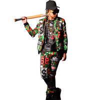 2 Pieces Sets Male Singer DJ Camouflage Collage Hip Hop Baseball Jacket Men's Stage Show Coat Accessories Custom Costumes