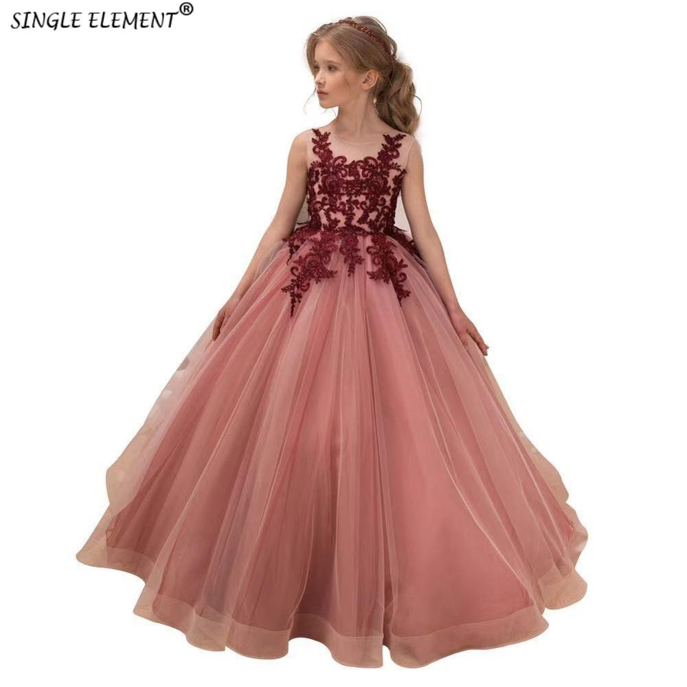 Wholesale Princess   Flower     Girl     Dress   Puffy   Girl's   Wedding Party   Dress   Lace Applique
