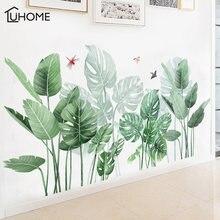 Большой зеленый тропический растительный Лист наклейки Настенный