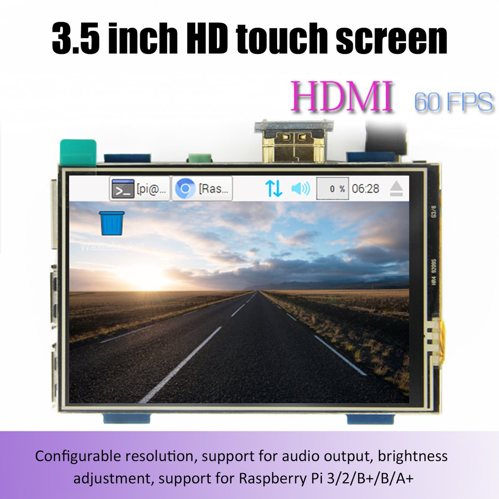 LCD module 3.5 inch Pi TFT 3.5 inch Resistive Touch Screen 3.5 inch LCD shield module HDMI interface for  Raspberry pi Display Screen     - title=