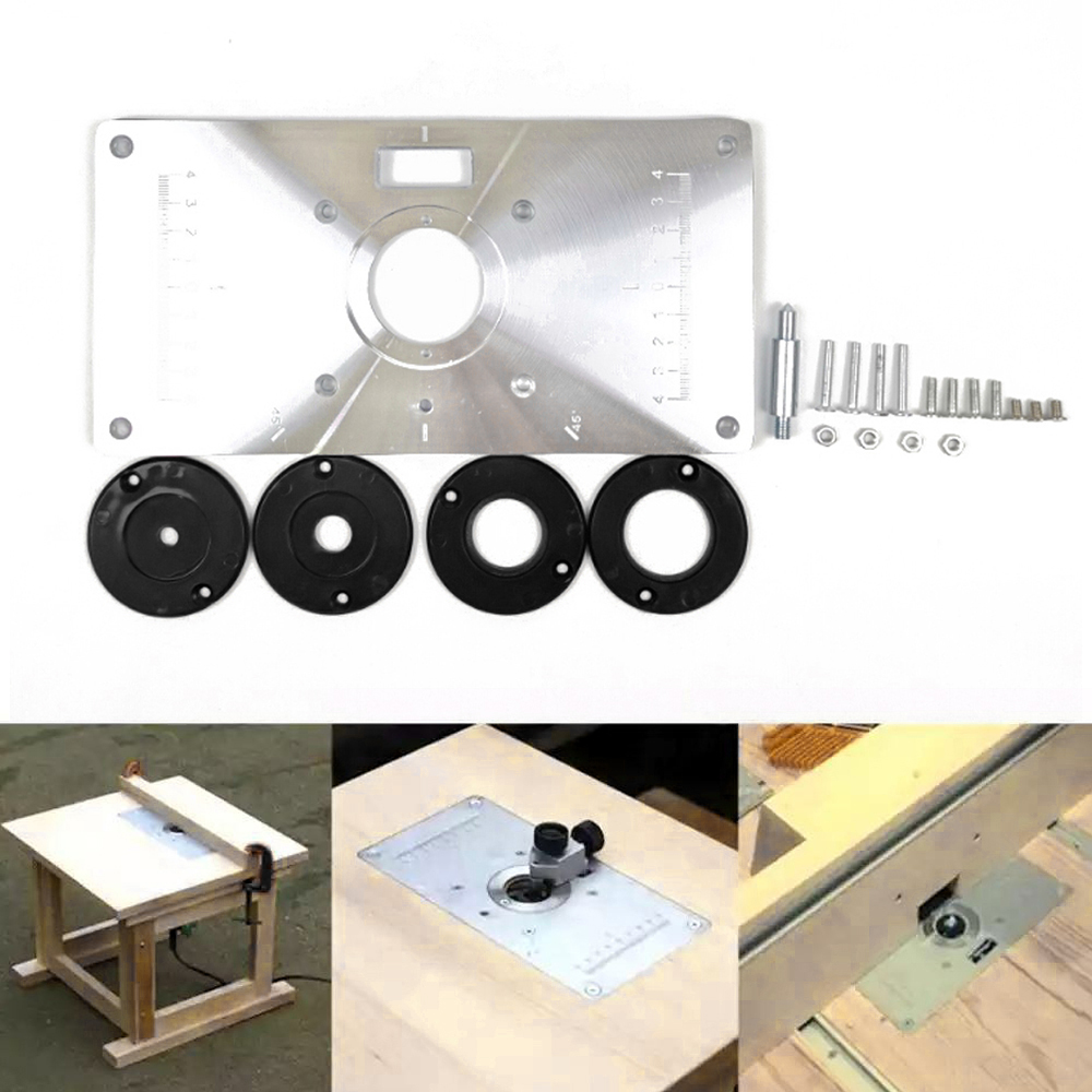 Multifunctional Router Table Insert Plate Woodworking Benches Wood Router Trimmer Models Engraving Machine 4 Rings Tools