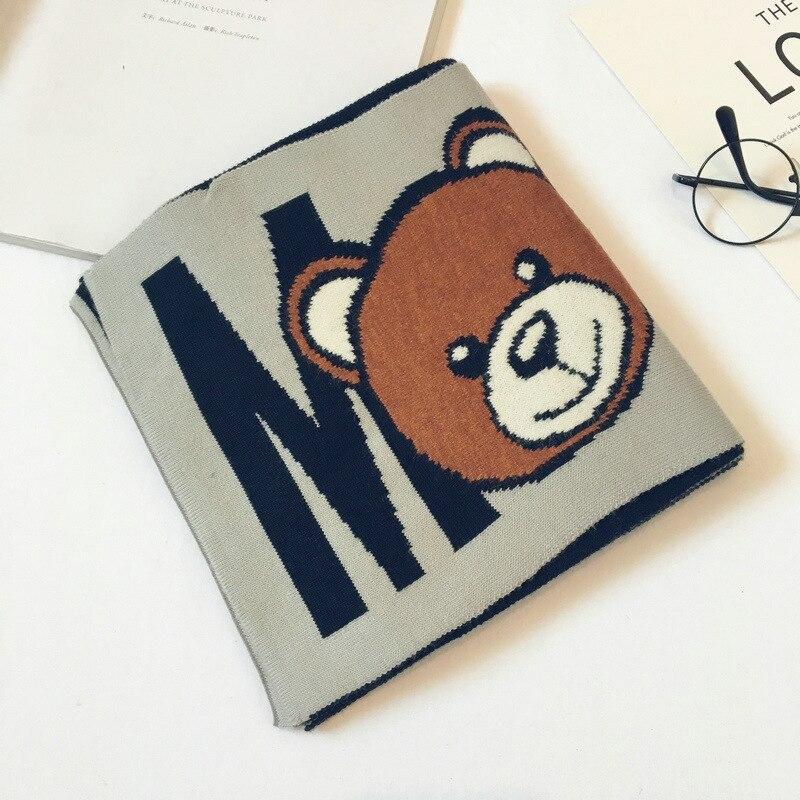 Корейская Клетчатая Шерстяная теплая осенне-зимняя одежда для мальчиков и девочек с рисунком медведя и надписями, шали, шарфы, аксессуары-LHC - Цвет: gray