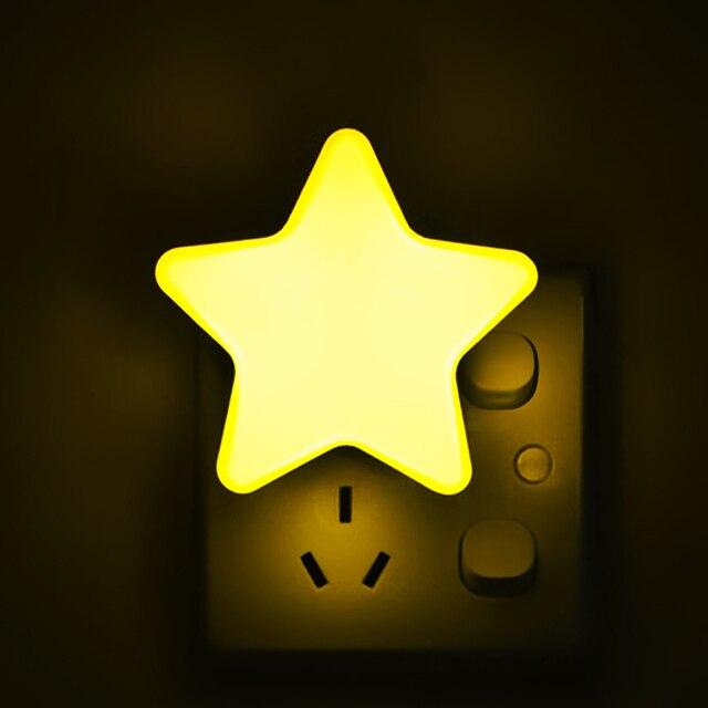 4 اللون ستار صغير LED ضوء الليل مع الاتحاد الأوروبي/الولايات المتحدة التوصيل ل الظلام ليلة الطفل النوم ضوء السرير مصابيح LED الاستشعار التحكم ضوء الليل
