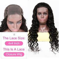 YYong 4x4 Lace Closure Wigs 32inch Long  Loose Deep Wave 1x6 Topline HD Transparent T Part Lace Wigs  Wig 8