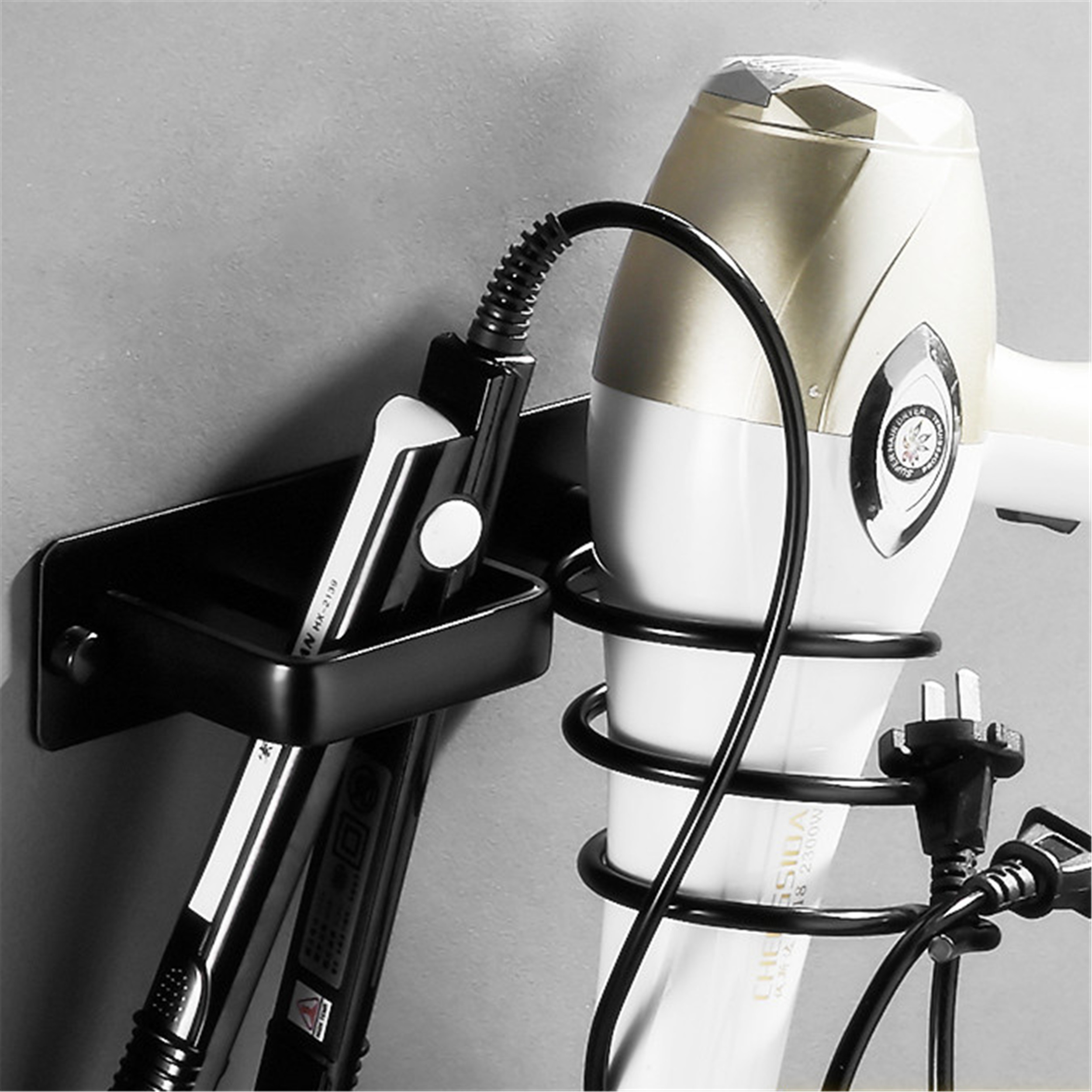 Wall Mounted Bathroom Black Hair Dryer Holder Space Aluminum Hair Straightener Holder Storage Bathroom Shelf Accessories 1