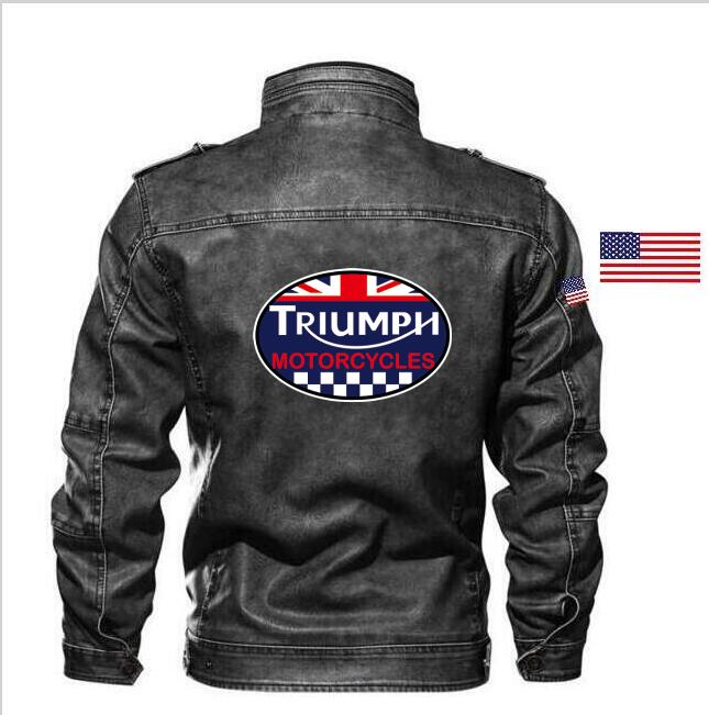 Goatskin Triumph Motorcycles Leather Jacket Slim Leather Motorcycle Men's Jacket Brand Clothing + Embroidery Badge