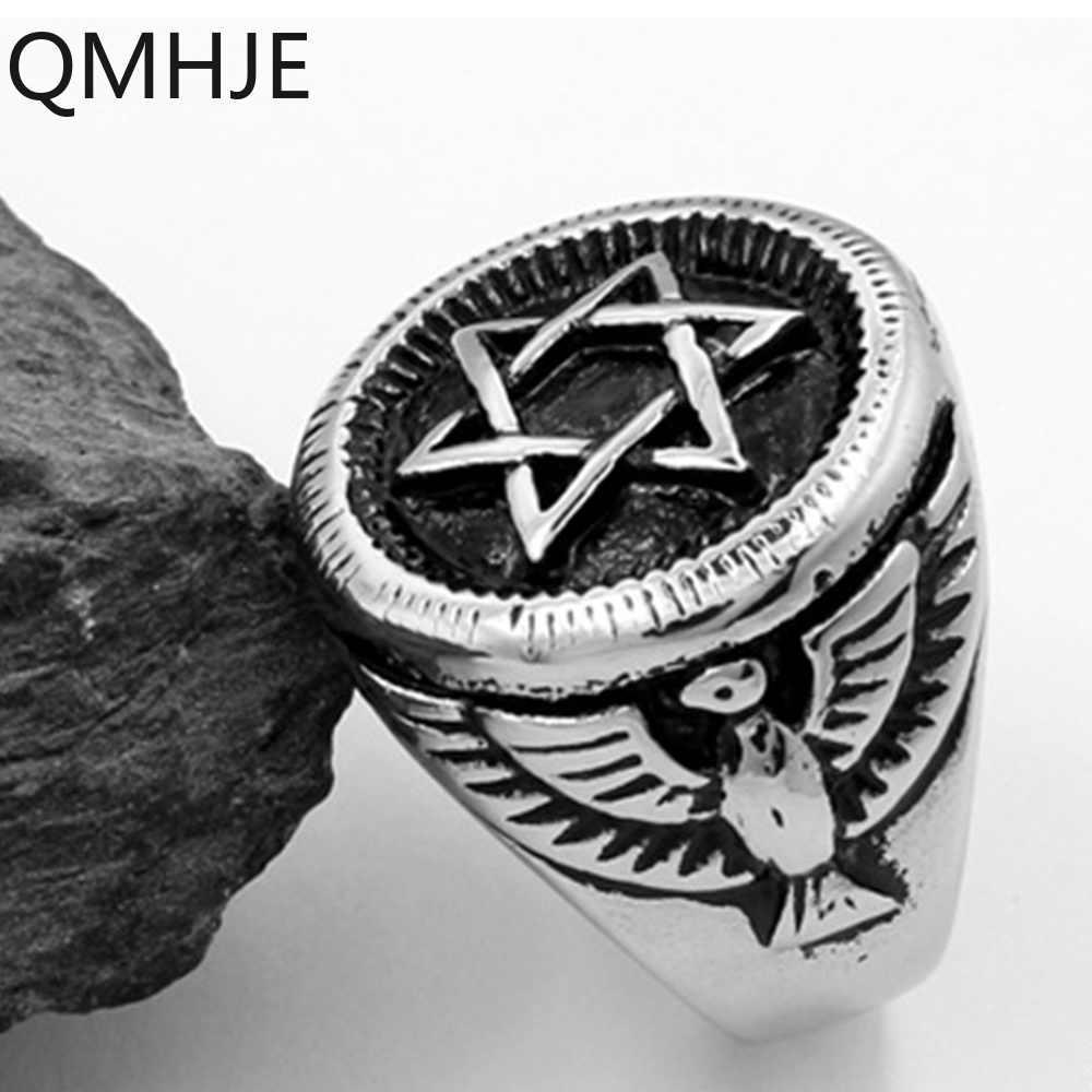 Titânio aço inoxidável anéis dos homens hexágono estrela águia ouro prata hip rock biker banda masculino jóias casamento selo signet vintage