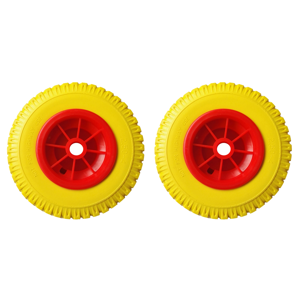 1 Pair 8'' 0.76'' 330lbs Load Replacement Puncture Proof Yellow Tire On Red Wheel Kayak Tool For Kayak Canoe Cart
