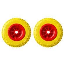 1 paire de pneus jaunes anti-crevaison de remplacement de charge 8 ''0.76'' 330lbs, sur roue rouge, outil de Kayak pour chariot de canoë