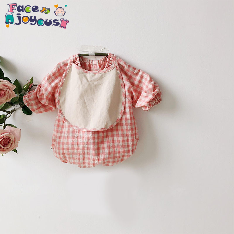2020 Spring New Baby Bodysuit Plaid Print Long Sleeve Boys And Girls Jumpsuit Baby Girl Clothes With Bibs