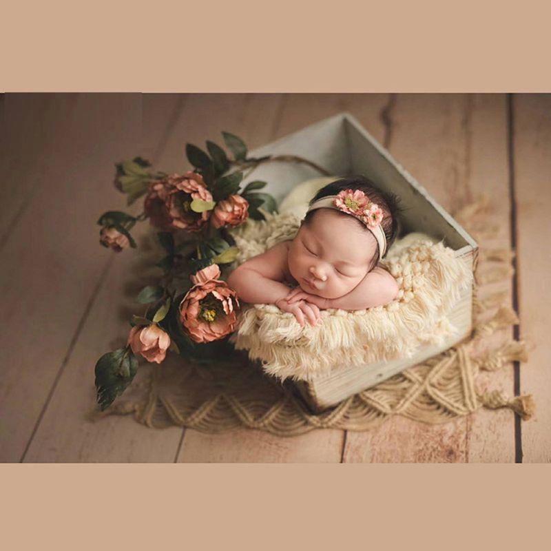Nourrissons photographie accessoires nouveau-né bébé Photo tapis couverture tissé à la main gland tapis décoratif toile de fond couverture