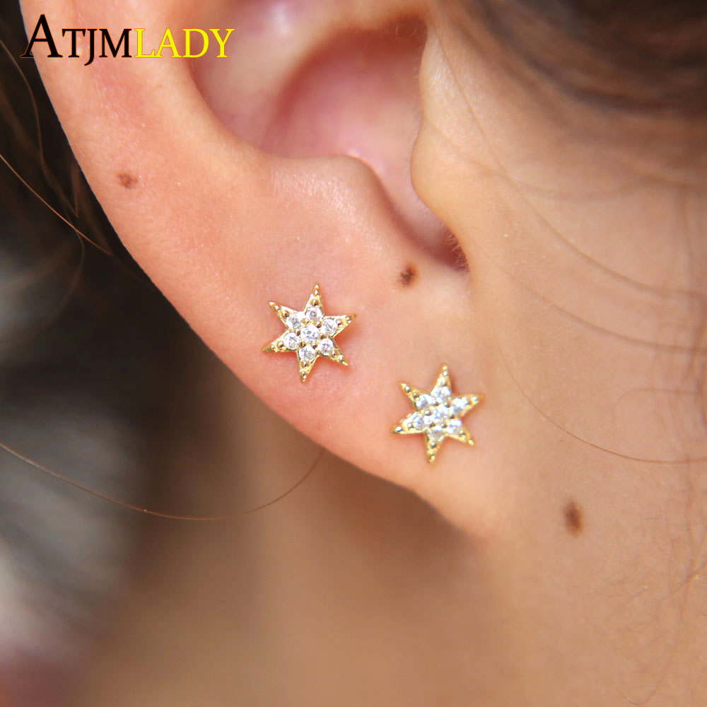 Girls Stars Colorful Ear Studs 925 Sterling Silver