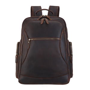 Image 3 - MAHUE Leather Backpack With Collapsible Chair Large Capacity Leather Backpack For 17 Inch Laptop Top Layer Cowhide Travel Bag