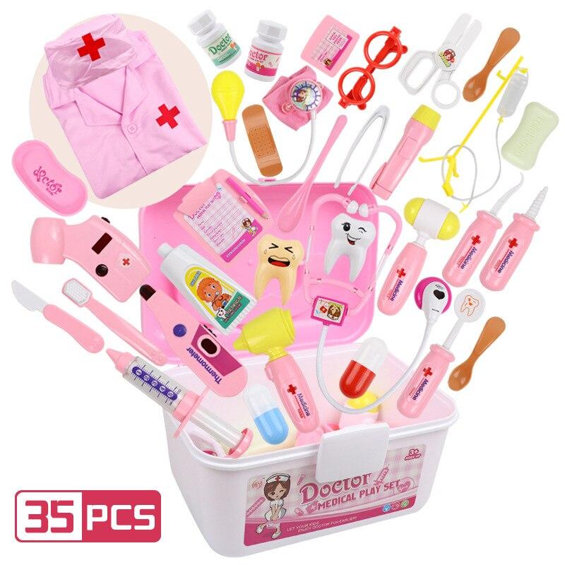 Kids Doctor Toys Role Playing Games Set Dentist Toys Hospital Pretend Play Medical Kit Nurse Bag Toys For Children Best Gift