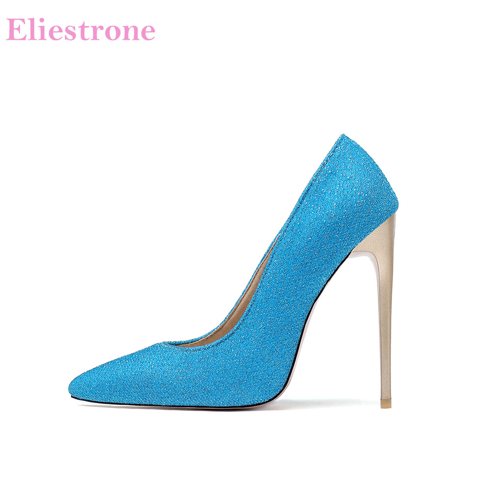 Hot 2020 Brand New Luxury Blue Yellow Women Dress Pumps <font><b>Sexy</b></font> Super High Heels Lady Nude Party <font><b>Shoes</b></font> LK285 Plus Big <font><b>Size</b></font> <font><b>11</b></font> 43 47 image