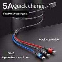 Cavo USB Super Charge 3 in 1 per iPhone12 /11 Pro/ Max / Micro Oppo/vivo/tipo C cavo per Huawei / Xiaomi / Honor /Samsung