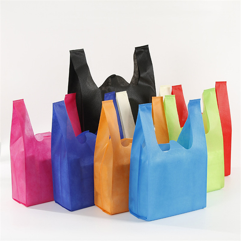 Colorful Shopping Non-woven Vest Bag Wholesale Supermarket Mall Shopping Blank Tote Bag Advertising Non-woven Bag