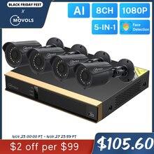Movols 8CH AI System kamer CCTV 4 sztuk 2MP na świeżym powietrzu wodoodporna kamera monitoringu zestaw DVR H.265 wideo z domu System nadzoru