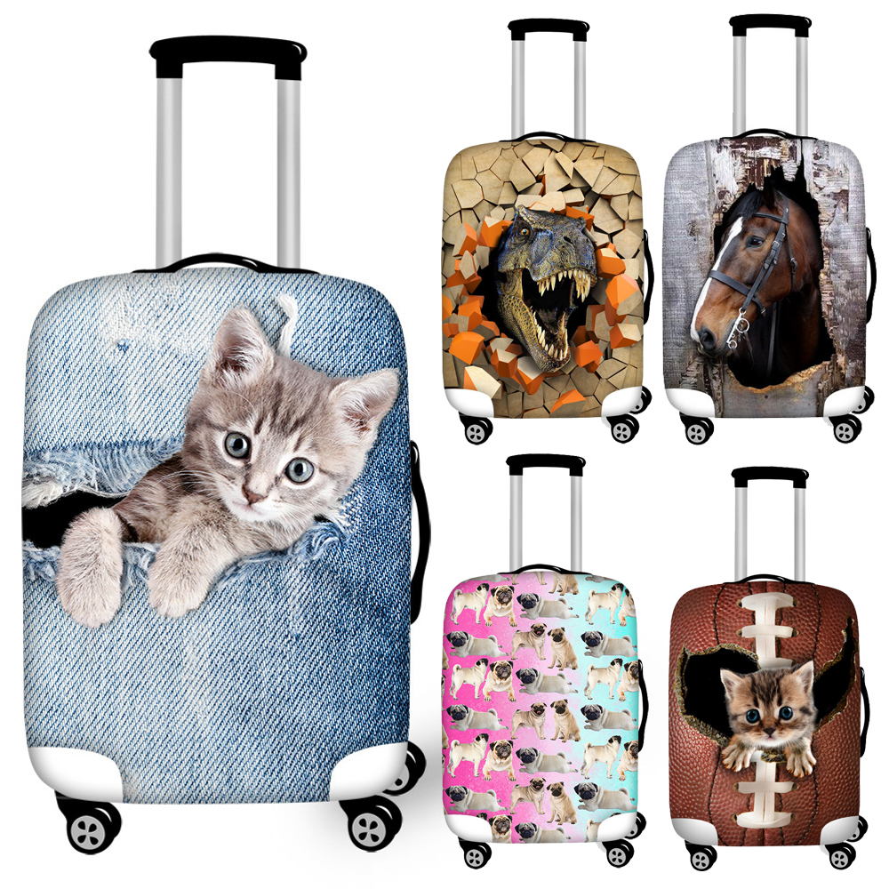 Twoheartsgirl Elastic 3d Animal Dinosaur Cat Dog Suitcase Cover For 18''-32'' Trunk Case Personalized Travel Luggage Covers