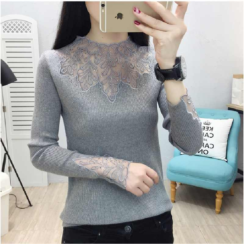 2019 Kant Winter Coltrui Strass Truien Vrouwen Sexy Mesh Hollow Out Herfst Truien Soft Tops Lady Lange Mouwen Jumpers