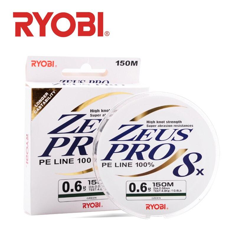 RYOBI ZEUS PRO Fishing Line 8 Strands Braided PE Line High Knot Strength 150m 0.6#-5.0# 10.6LB-57.2LB Multifilament Fishing Line