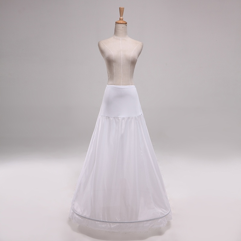 Simple 1 Hoop Petticoat A-Line Women Petticoat Wedding Bridal Underskirts 110CM Length Waist Size Adjustable