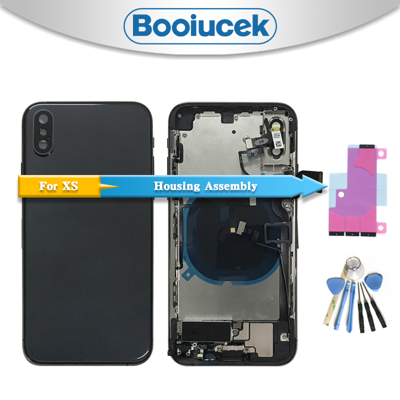 For Iphone XS XR With Flex Cable Back Housing Full Assembly Battery Cover Door Rear Middle Frame Chassis For Iphone XS Max