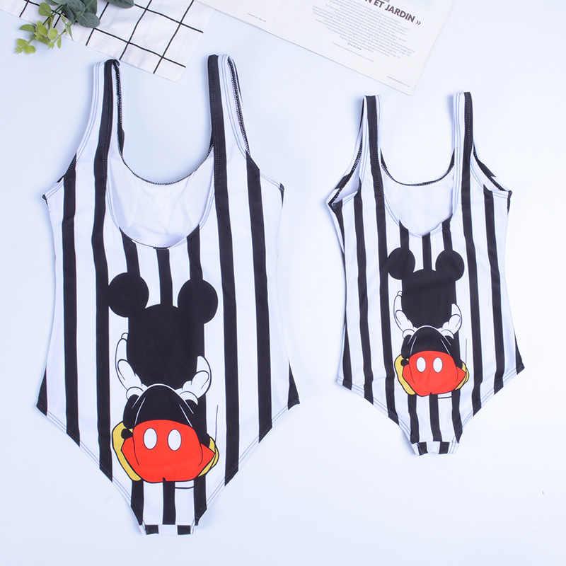 Mommy dan Saya Pakaian Renang Keluarga Yang Sesuai dengan Bayi Perempuan Wanita Mickey Mouse Ibu Anak Satu Potong Pakaian Renang Baju Renang Pantai memakai