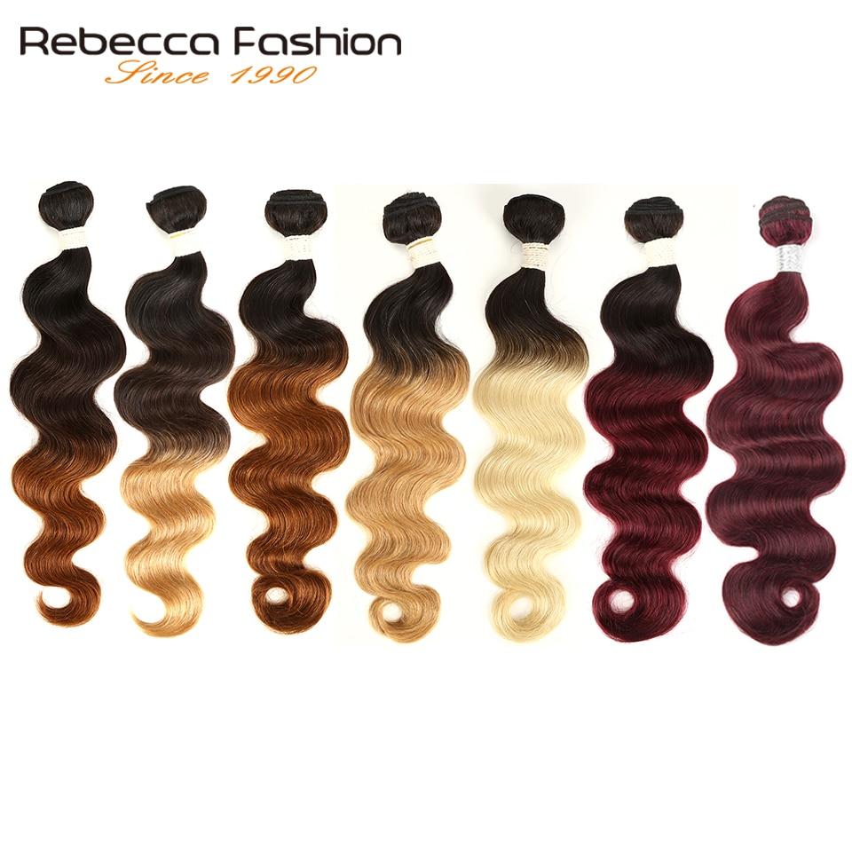 Rebecca Ombre бразильские объемные волнистые 1/3 пряди два тона Remy человеческие волосы пряди 1B/4/27/30/99J/613 блонд