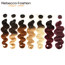 Rebecca Ombre Braziliaanse Body Wave 1/3 Bundels Twee Drie Tone Remy Human Hair Bundels Deals 1B/4/27/30/99J/613 Blonde(China)