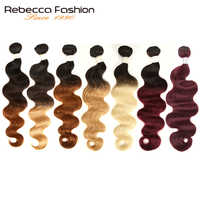 Rebecca Ombre Brazilian Body Wave 1/3 Bundles Two Three Tone Remy Human Hair Bundles Deals 1B/4/27/30/99J/613 Blonde