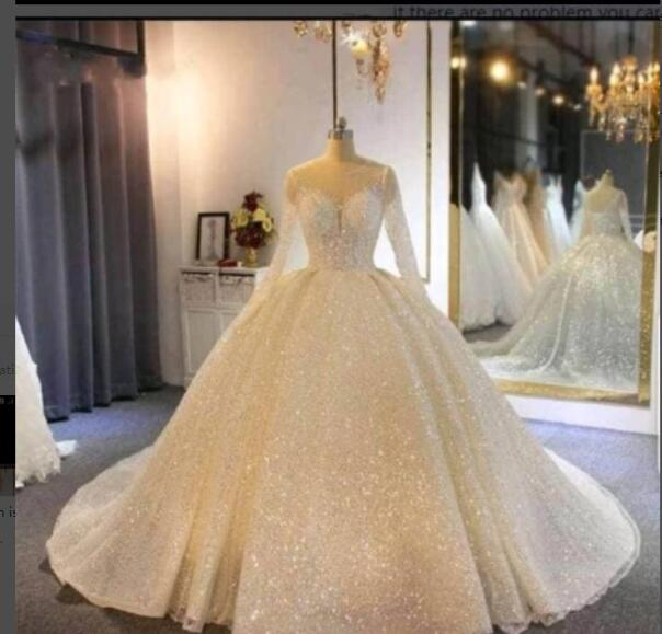 Hot Discount 8e849 Glittering Sequins Princess Ball Gown Wedding Dresses Long Sleeve Sheer Neck Ruffle Lace Up Back Bridal Gown Vestido De Noiva Cicig Co