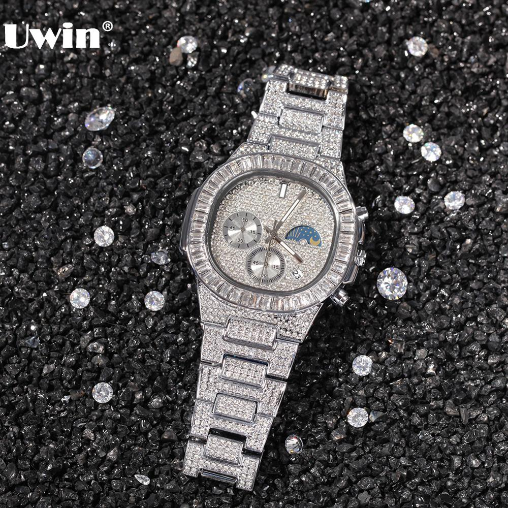 Uwin Men's Watch Gold Color Big Dial Military Quartz Clock Luxury Rhinestone CZ Waterproof Wrist Watches for Drop Shipping