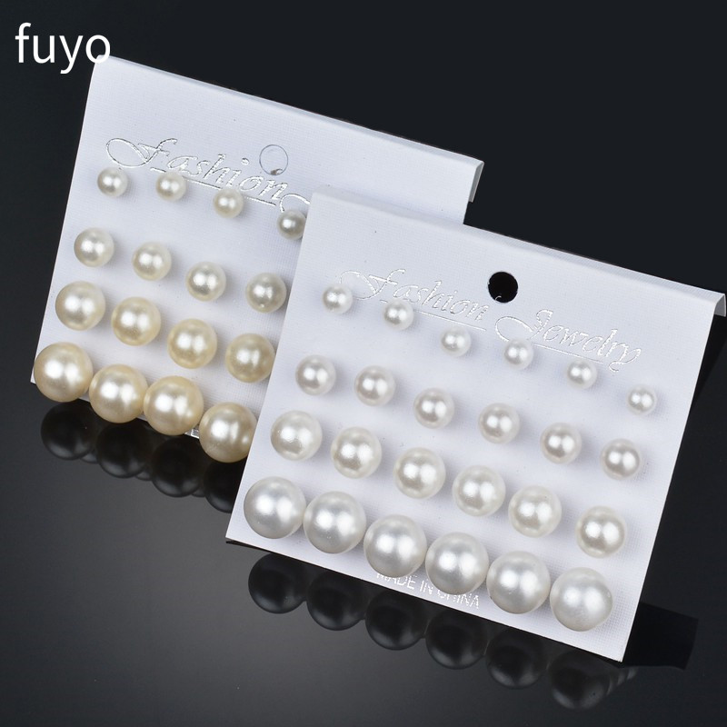 12 pairs White Simulated Pearl Earrings Set For Women Jewelry On Ear Ball Stud Earrings kit Bijouteria brincos Bijoux(China)