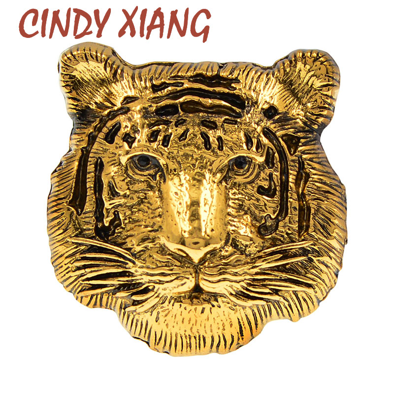 CINDY XIANG New Vintage Metal Tiger Face Head Brooch Pins For Women And Men Child Cute Accessories Animal Brooches Good Gift