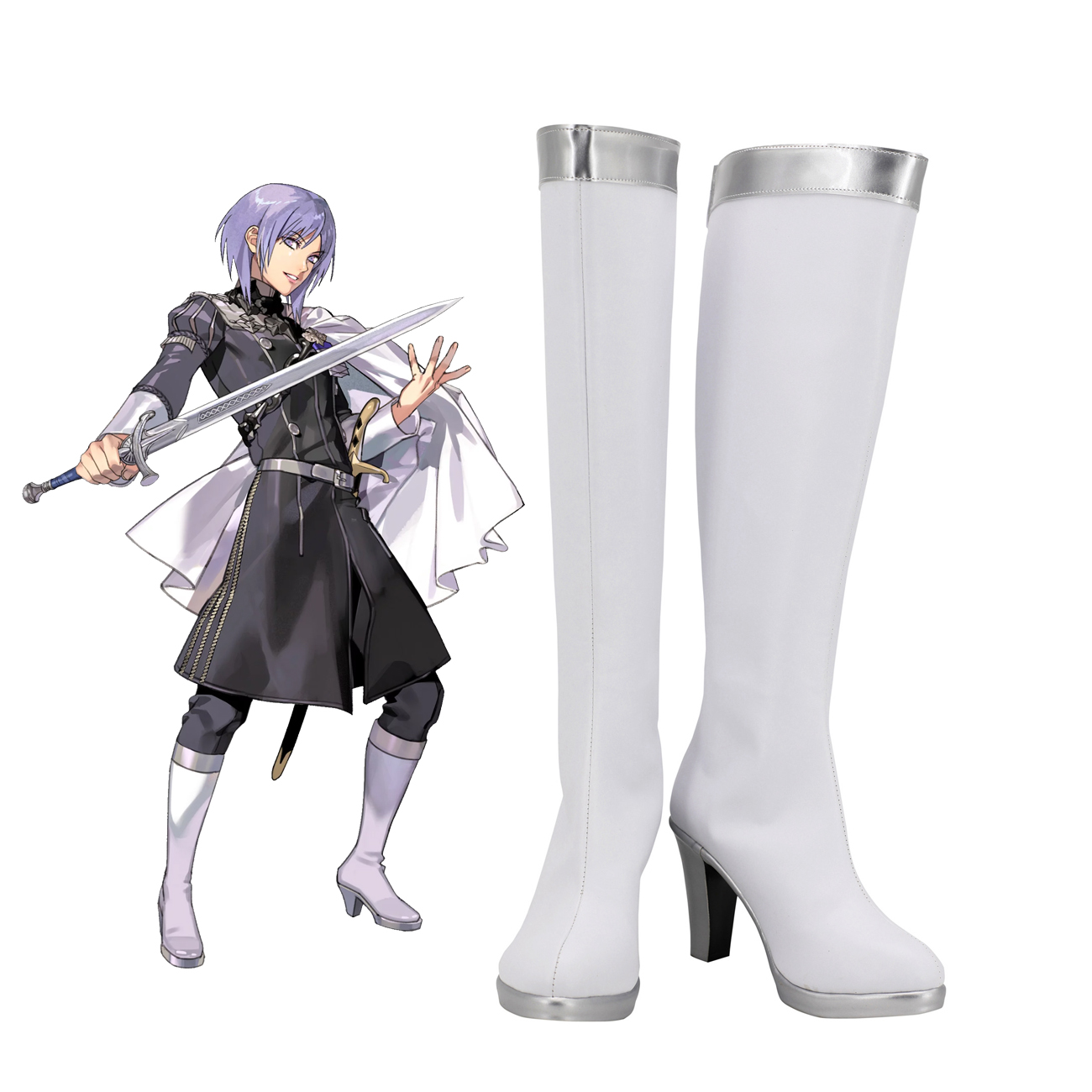 Fire Emblem Yuri Cosplay Boots White Shoes Yuri High Heel Shoes Custom Made for Unisex image