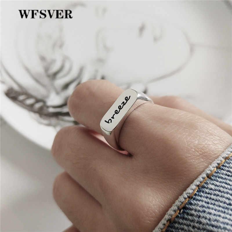 WFSVER เกาหลีสไตล์แหวนเงินแท้ 925 เงินสเตอร์ลิง BREEZE แหวนสุภาพสตรีที่ละเอียดอ่อนแฟชั่นเครื่องประดับของขวัญ