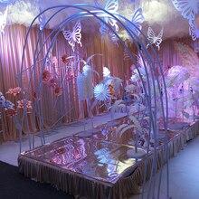Arco de boda de Pvc decorativo camino plomo telón de fondo para el escenario soporte Marco de flores para boda fiesta de cumpleaños suministros de decoración de bricolaje