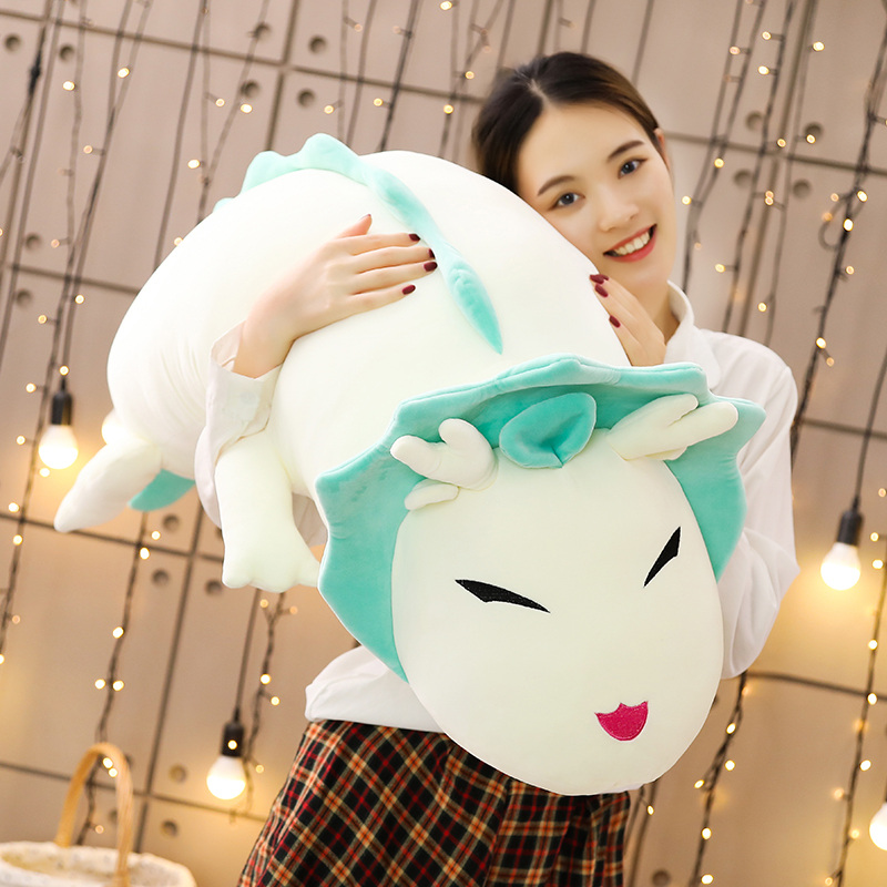 1pc 90-130CM Cute White Dragon Plush Toys Cartoon Simulation Animal Lying Dinosaur Pillow Kawaii Birthday Gift For Children
