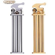 JIFENG slim trzy metalowe mosiężne ściernice płomień zapalniczka gazowa butanowe zapalniczki do papierosów 75*20*10mm prezent