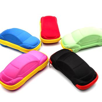 Children's Colorful Cars Sunglasses Boxes Car Shape Zip Children Kids Reading Glasses Protector Case Eyewear Storage Box Random image