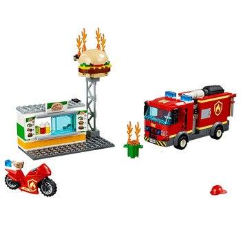 2020 nueva ciudad hamburguesa Bar Fire Rescue 60214 bloques de construcción compatibles Lepining figuras de bomberos Cityo niños juguetes regalo