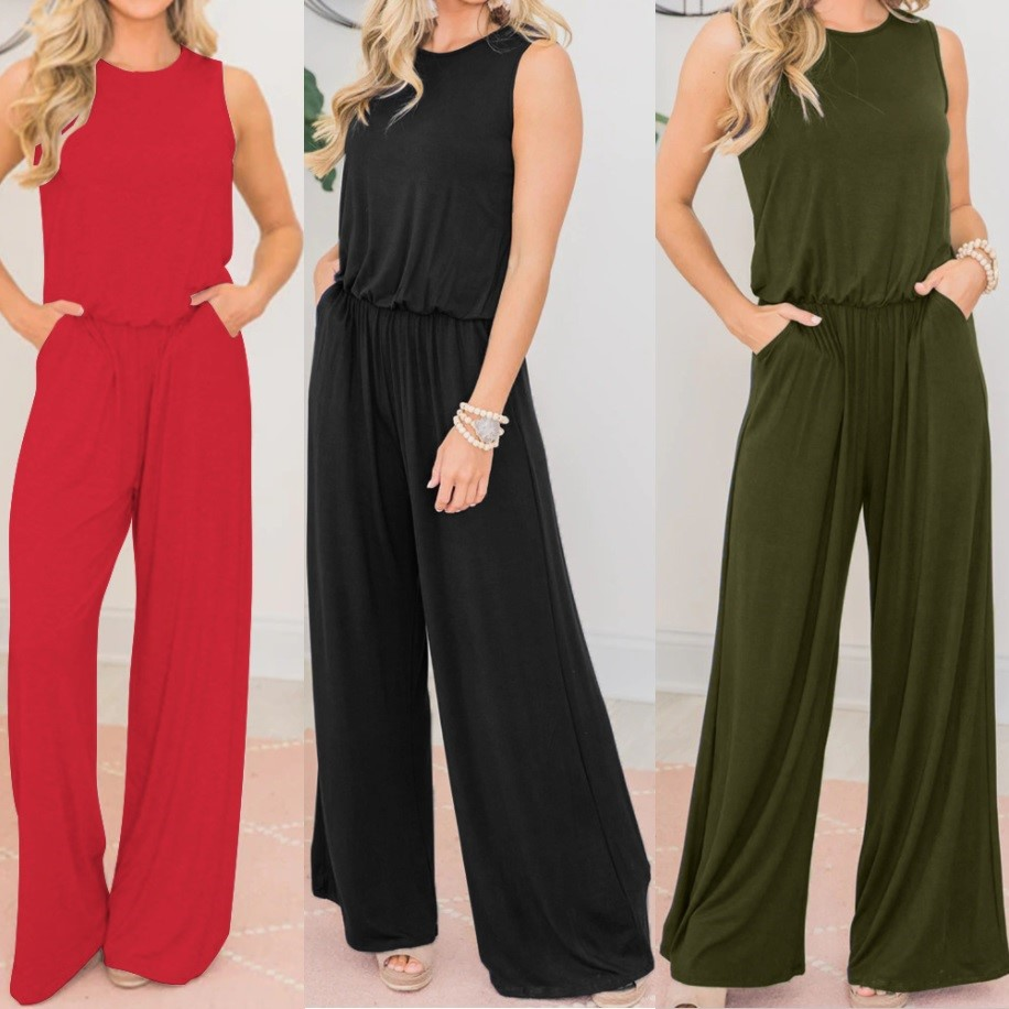 2020 New Siamese Pants Tricolor Loose Leisure Belt Pocket Siamese Pants Rompers Womens Jumpsuit Plus Size Sexy Bodysuit QP042