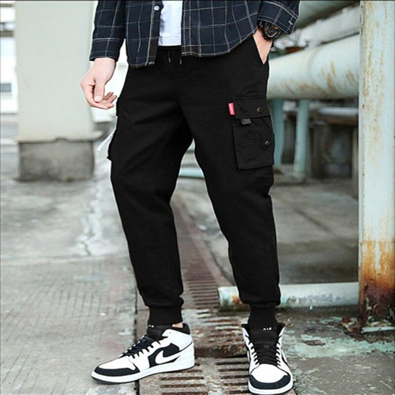Брюки-карго мужские повседневные, модные штаны в Корейском стиле, свободные шаровары с карманами, 97% хлопок, модные штаны для бега