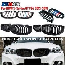 Carbon Faser/Schwarz Front Stoßstange Racing Grills Nieren Gitter Für BMW F34 3 Serie GT GT3 Gran Turismo M sport Power Zubehör
